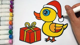 How To Draw A Duck And Christmas Gift Box || Draw For Kids