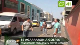 Conductores se agarraron a golpes en centro histórico - Trujillo