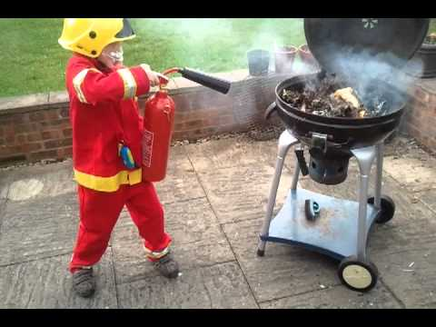 oscar the fireman gives a lesson on fire extinguishers. CO2