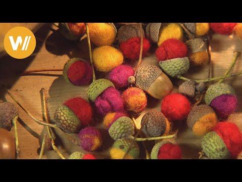 Filzen mit Eicheln – Bastelzeit für Herbstkränze