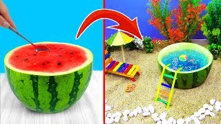 DIY MINIATURE SWIMMING POOL ~ Water park, Watermelon pool for Barbie Dolls