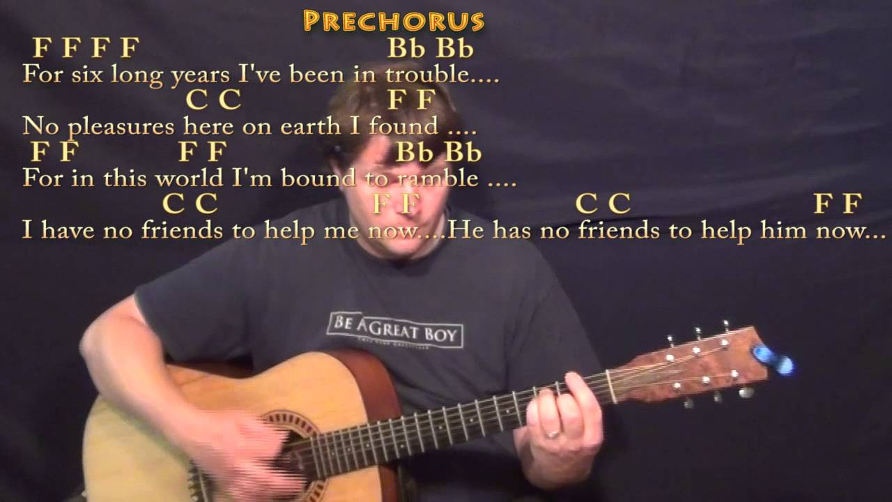 Man Of Constant Sorrow Guitar Lesson Chord Chart In F With Chords