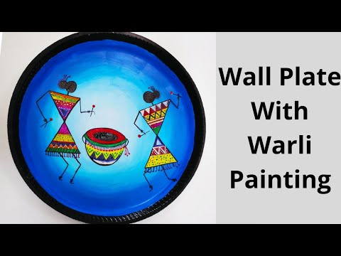 Best Out Of Waste Wall Plate With Warli Art On Thermocol Plate Thermocol Plate Wall Decor Ideas Painting With Oil Paints