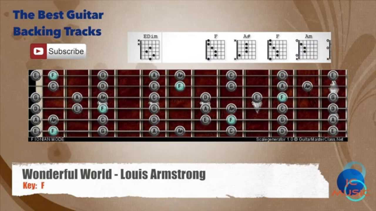 Wonderful World Louis Armstrong Guitar Backing Track With Scale