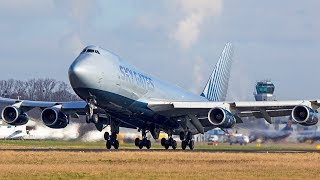 NEW BOEING 747 Airline departing on a WET RUNWAY