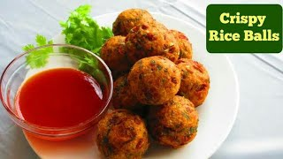 Crispy rice ball using leftover rice   leftover rice recipe   Tasty food   Instant snack