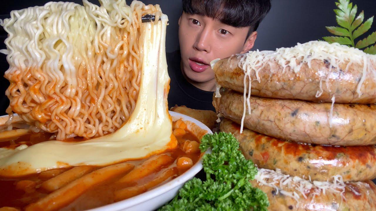 ASMR MUKBANG 치즈 신전떡볶이 + 통순대 [ 갬성캠핑 순대스테이크 - 순대실록 ] 먹방 TTEOKBOKKI + SAUSAGE EAITNG SHOW