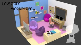 Low Poly - Workplace (Blender Timelapse)