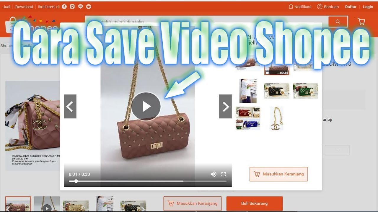 Cara Menyimpan Video Produk Dari Situs Website Marketplace Shopee Youtube