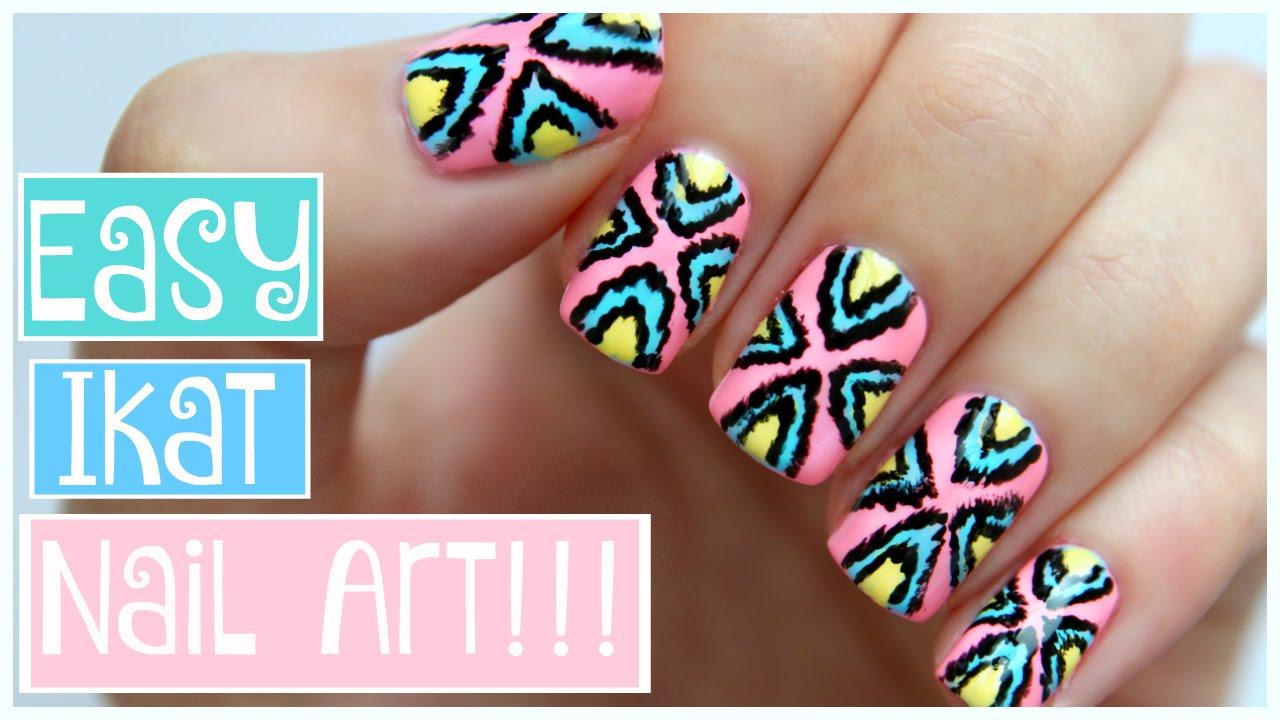 Easy Tribal Ikat Nail Art!!! | JennyClaireFox - YouTube