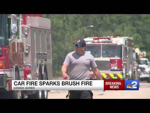 Fire destroys car, ignites woods in Lehigh Acres