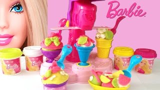 Barbie Fábrica de Sorvetes Massinha e Acessórios - Barbie Ice-Cream Fun Factory Playdough