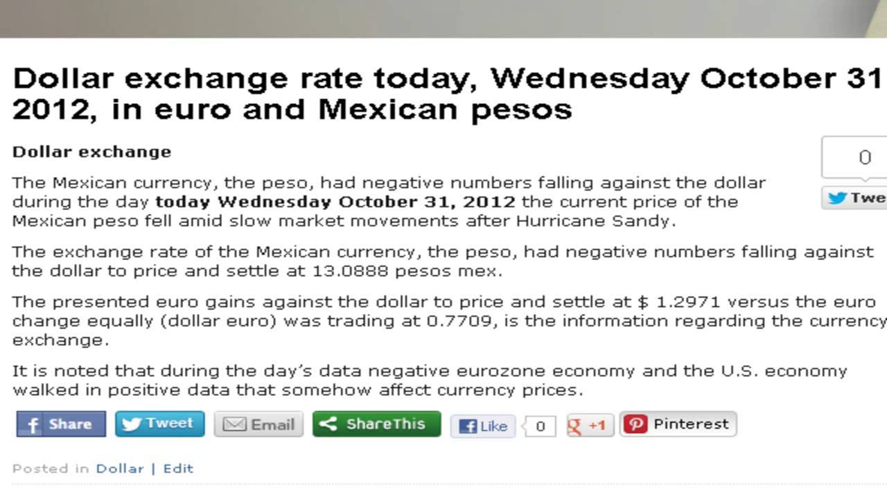 Dollar exchange rate today, Wednesday October 31, 2012, in euro and Mexican pesos - YouTube