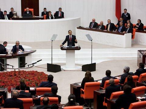 Addressing the Turkish Parliament
