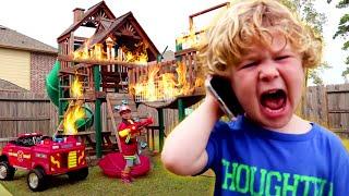 Kids Play Fire Truck Mechanic in Power Wheels | Videos for Kids