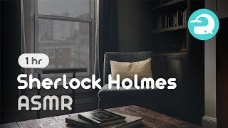 Sherlock Holmes Room ASMR Ambience / Rain, Fireplace Sounds / Studying, Relaxing #194