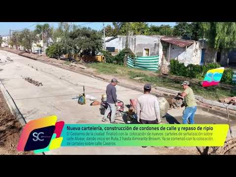 Nueva cartelería, construcción de cordones de calle y repaso de ripio