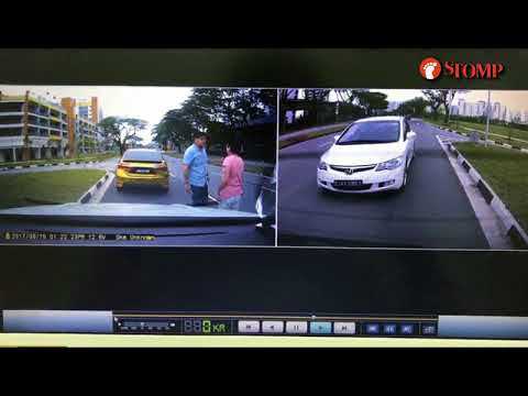Road bully driving Malaysia car tailgates old auntie, blocks her car and confronts her