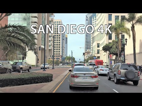 Driving Downtown - San Diego California USA 4K