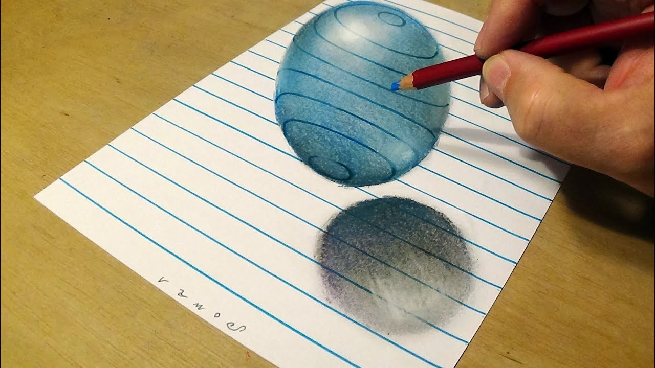Blue Ball - How to Draw 3D Sphere on Line Paper - by Vamos