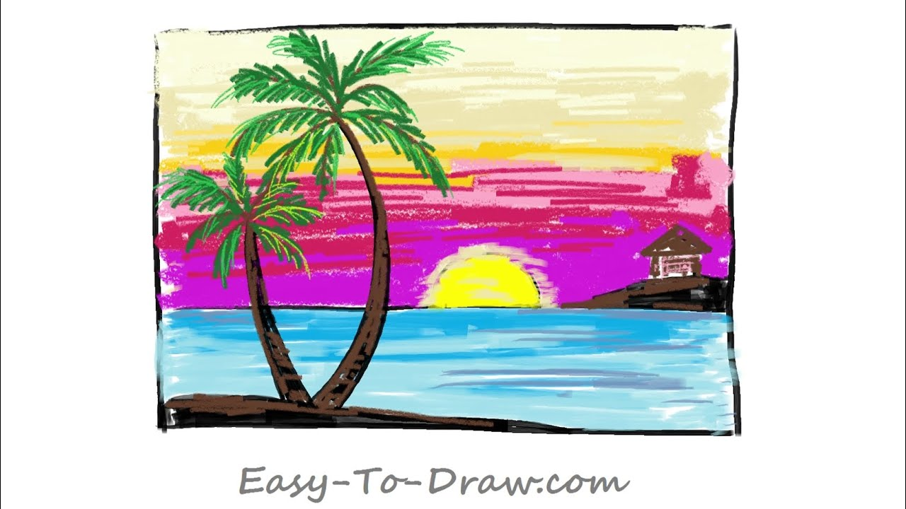 How To Draw A Cartoon Seaside Sunset With Coconut Trees Step By Step