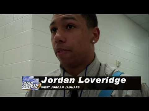 High school basketball: Jordan Loveridge (West Jordan Jaguars) post-game interview 12-15-11.