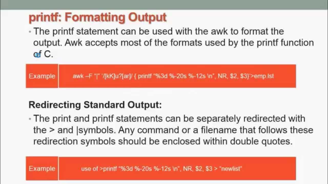 Awk Programming In Unix