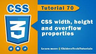 CSS video tutorial - 70 - width, height & overflow properties in css