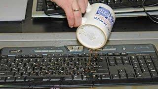 Как почистить клавиатуру компьютера от кофе?(Чистка щеткой и моющим средством клавиатуры, на которую был пролит кофе и она перестала фунциклировать...., 2016-04-11T13:00:08.000Z)