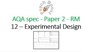 Experimental design - Research Methods (7.12) Psychology AQA paper 2
