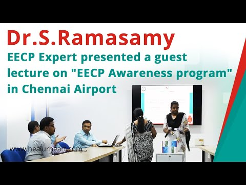 dr s ramasamy eecp expert presented a guest lecture on eecp awareness program in chennai airport