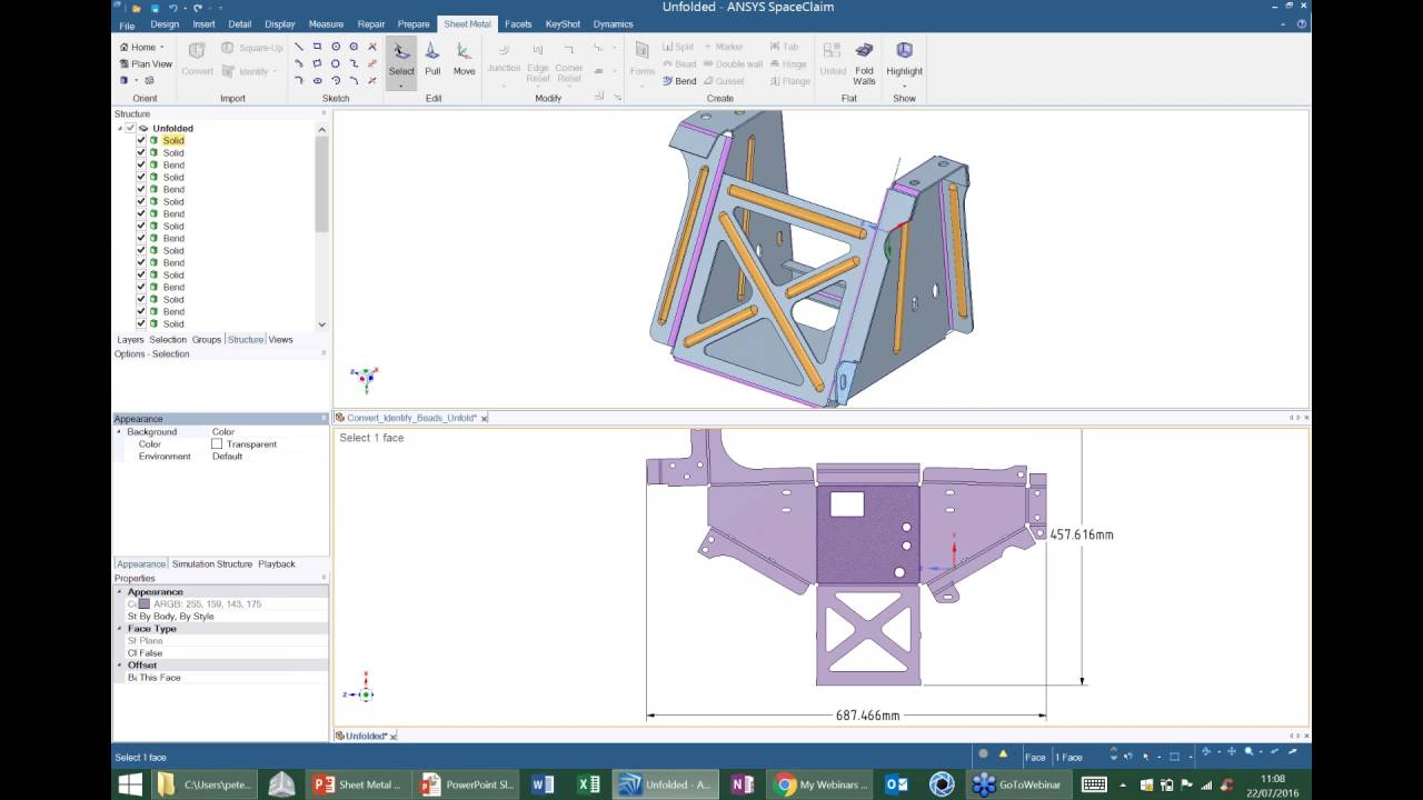 Spaceclaim Sheet Metal From 3d To Flat Fast Youtube
