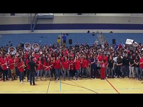 Wild CBS 11 Pep Rally At Castleberry High School