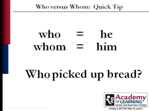 Download Who or Whom courtesy Academy of Learning College