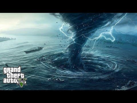 HUGE TORNADO HIT OUR SHIP IN OCEAN!!! SAVING MY FAMILY - GTA 5 END OF LOS SANTOS