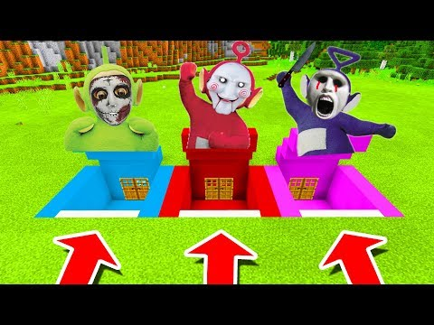 Minecraft PE : DO NOT CHOOSE THE WRONG SECRET BASE! (Tinky Winky, Dipsy & Po Slendytubbies)