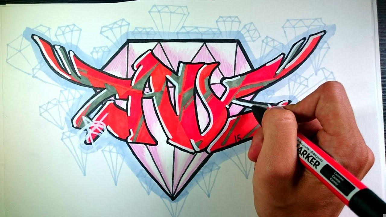 Graffiti en papel facil youtube - Graffitis en papel ...