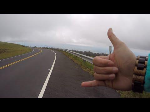Haleakala downhill bike ride through a cloud (April 2015)