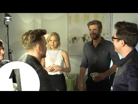 Jennifer Lawrence meets Olly Murs. He awkwardly