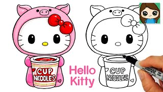 How to Draw Cup Noodles | Hello Kitty