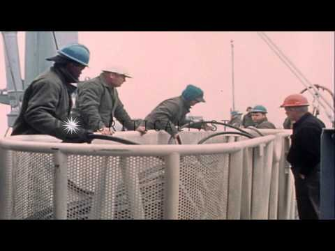 Technicians handle black cables and lift cables secured together aboard USS Oppor...HD Stock Footage