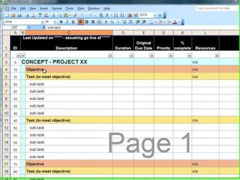 WBS Spreadsheet - YouTube