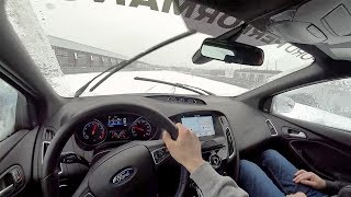 How to Hoon the Focus RS w/Drift Stick - POV Snow Drifting Review at M1 Concourse (Binaural Audio)