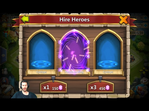Rolling 30,000 Gems For HeartBreaker Hire Heroes & Win Castle Clash