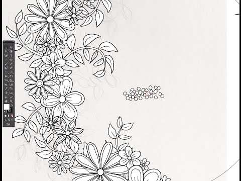 Adobe Illustrator Time Lapse Floral Wreath Coloring Page
