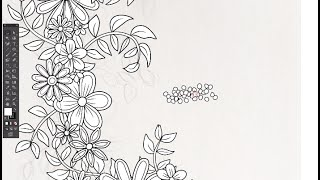 Adobe Illustrator Time Lapse - Floral Wreath Coloring Page Illustration