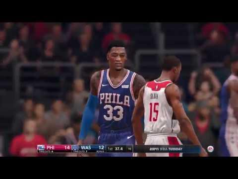 NBA Live 18 Opening Day Phladelphia 76ers vs Washington Wizards 2017 2018 Season