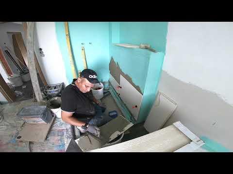 NEUE Baustelle . Fliesen verlegen (  Duschwane einbauen , Wand Fliesen verlegen ) ( video 5 )