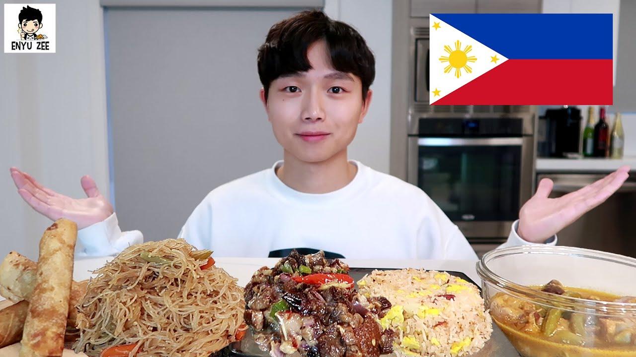 SUB)🇵🇭 FILIPINO FOOD MUKBANG [필리핀음식 2탄] SISIG, KARE-KARE, PANCIT BIHON, LUMPIA FEAST 먹방