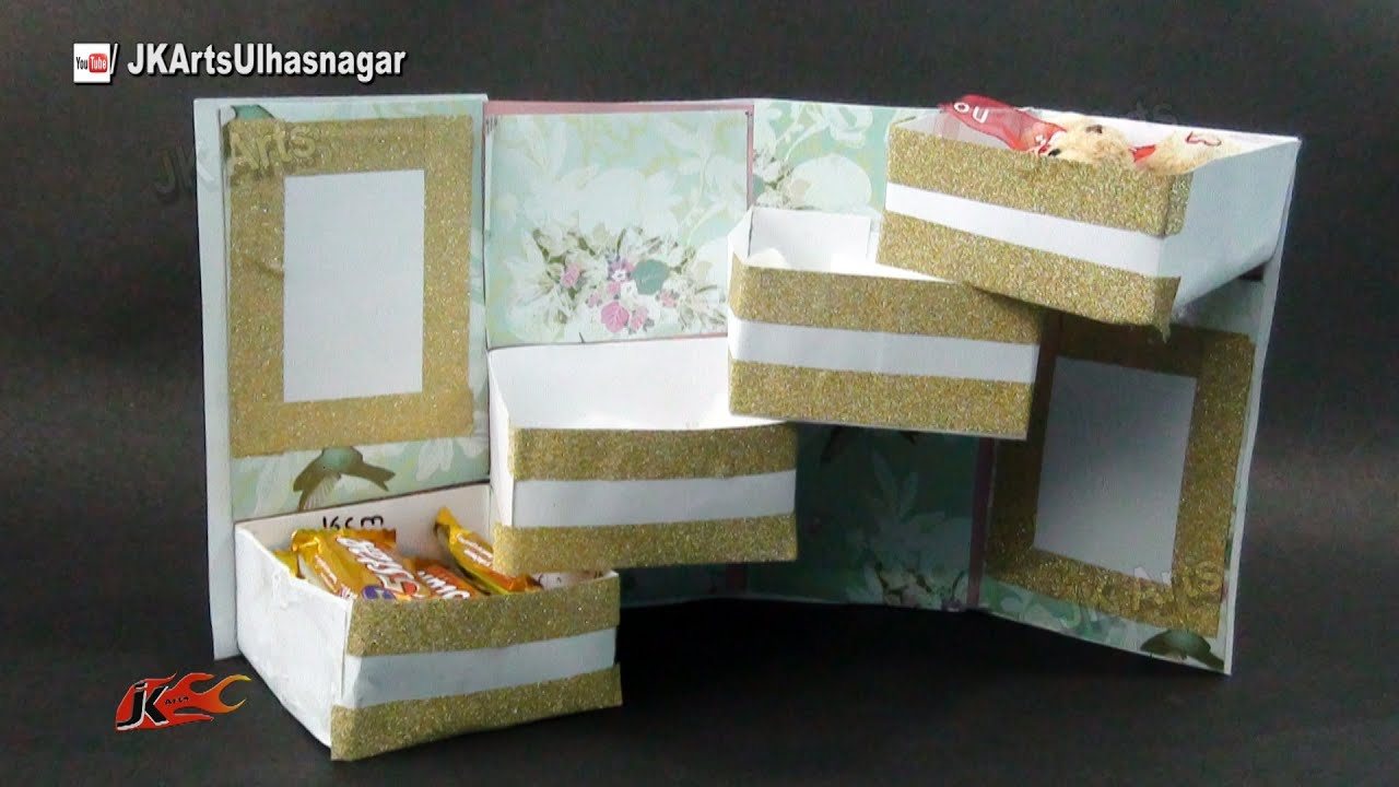 Scrapbook ideas youtube - Tower Gift Box With Shelves Tutorial Gift Box Idea How To Make Jk Arts 969 Youtube